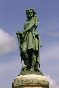 Vercingetorix, Celtic prince; executed in Rome 46BC; in 52BC he lead the last great campaign by the Gauls against Caesar in the Gallic War.-Statue of Vercingetorix on Mont Auxois in Alise-Sainte-Reine, Côted'Or, France at the location of Battle of Alesia (Erected:27.8.1865, Sculptor: Aimé Millet (1819-91): View.-/ Photo, undated.