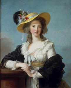 Elisabeth Vigée Lebrun, Portrait de Yolande Gabrielle Martine de Polastron, duchesse de Polignac au chapeau de paille, 1782