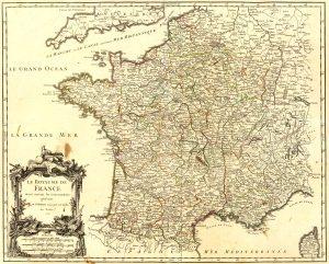 France par gouvernemens, planche 23 de l'Atlas universel de Gilles Robert de Vaugondy, Pais, 1757