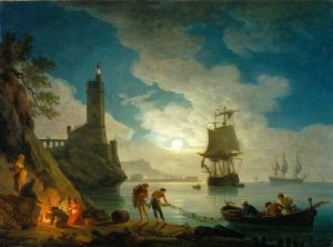 Joseph Vernet, Un port au clair de lune, 1787