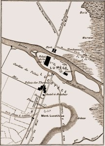 Plan du Paris gallo-romain, échelle 1/25 000. Source : http://fernandbournon.free.fr/paris/livre-1-chapitre-01.php
