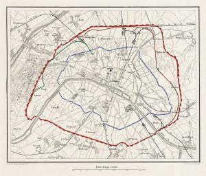 Plan de Paris en 1859, le mur des Fermiers Généraux en bleu, les fortifications de Thiers en rouge © The Promenader